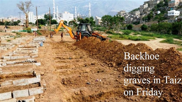 Taiz: Backhoes dig rows of graves as coronavirus death toll rises